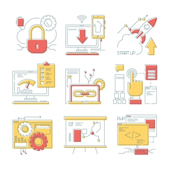 Icône de ligne de site web. outils en ligne web, développement numérique mobile et code numérique et conceptions vectorielles