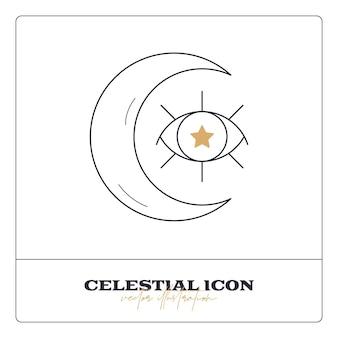 Icône de ligne de talisman céleste magique ésotérique ésotérique alchimie objet d'occultisme spirituel