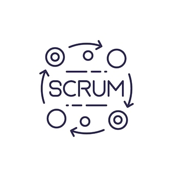 Icône de ligne de vecteur de processus scrum