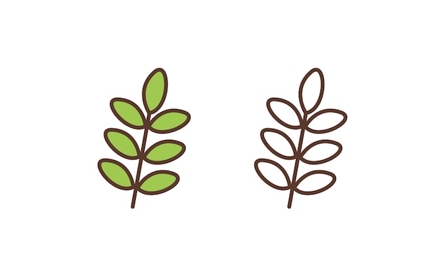 Icône linéaire de feuilles de plantes