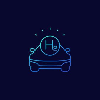 Icône linéaire de voiture à hydrogène, vecteur