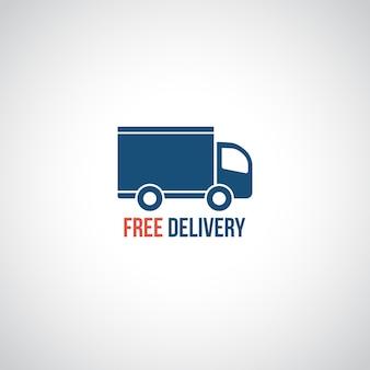 Icône de livraison gratuite, voiture symbole vecteur transportant une cargaison