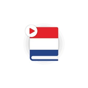 Icône de livres audio de cours de langue néerlandaise. dictionnaire néerlandais. séminaire web en ligne.