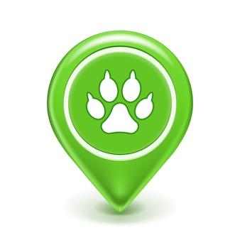 Icône de localisation de l'animal avec empreinte de patte