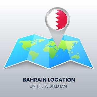 Icône de localisation de bahreïn sur la carte du monde, icône de broche ronde de bahreïn