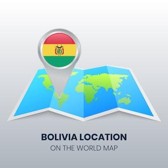 Icône de localisation de la bolivie sur la carte du monde
