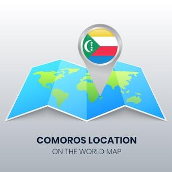 Icône de localisation des comores sur la carte du monde