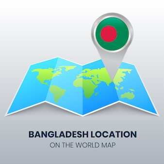 Icône de localisation du bangladesh sur la carte du monde, icône de broche ronde du bangladesh