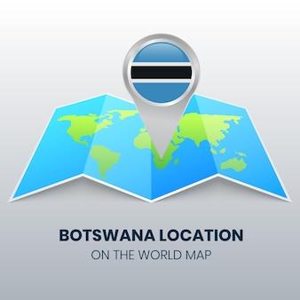 Icône de localisation du botswana sur la carte du monde