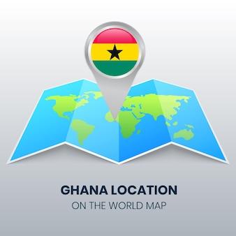 Icône de localisation du ghana sur la carte du monde