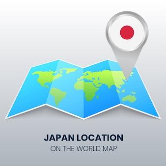Icône de localisation du japon sur la carte du monde, icône de broche ronde du japon