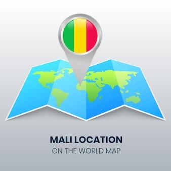Icône de localisation du mali sur la carte du monde, icône de broche ronde du mali