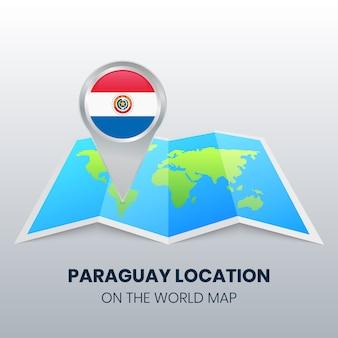 Icône de localisation du paraguay sur la carte du monde