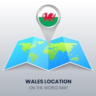 Icône de localisation du pays de galles sur la carte du monde