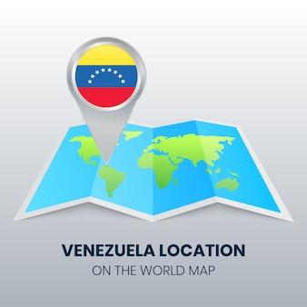 Icône de localisation du venezuela sur la carte du monde