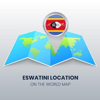 Icône de localisation d'eswatini sur la carte du monde