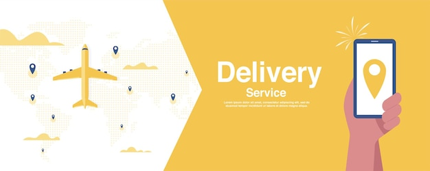 Icône de localisation de fret aérien logistique sur fond jaune.