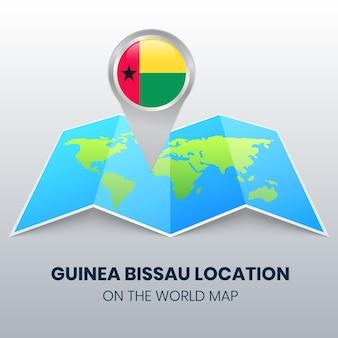Icône de localisation de la guinée bissau sur la carte du monde