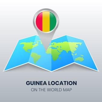 Icône de localisation de la guinée sur la carte du monde, icône de broche ronde de la guinée