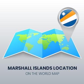 Icône de localisation des îles marshall sur la carte du monde