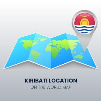 Icône de localisation de kiribati sur la carte du monde