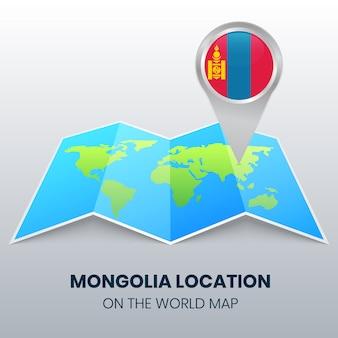 Icône de localisation de la mongolie sur la carte du monde, icône de broche ronde de la mongolie
