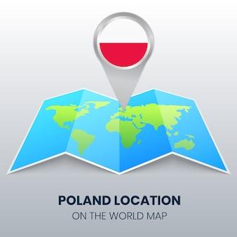 Icône de localisation de la pologne sur la carte du monde
