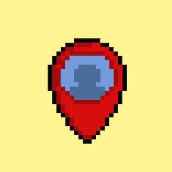 Icône de localisation de quelqu'un avec un style pixel art