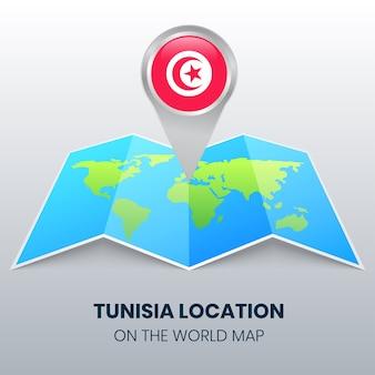 Icône de localisation de la tunisie sur la carte du monde