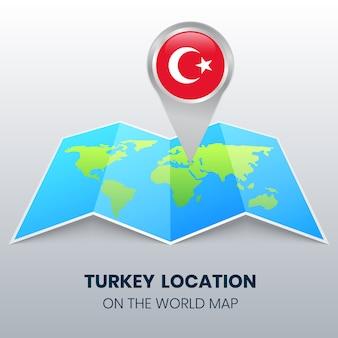 Icône de localisation de la turquie sur la carte du monde, icône de broche ronde de la turquie