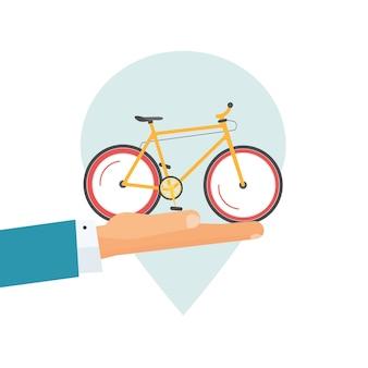 Icône de location de vélo ou location d'un pointeur de broche de lieu de vélo et illustration de dessin animé plat de vecteur de main