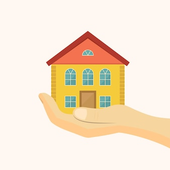 Icône de logement abordable. illustration vectorielle de maison en main.
