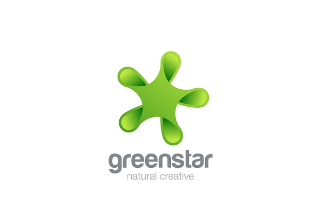 Icône de logo abstrait eco star vert.