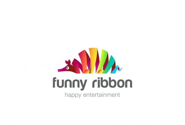 Icône de logo abstrait poisson ant-ours coloré.