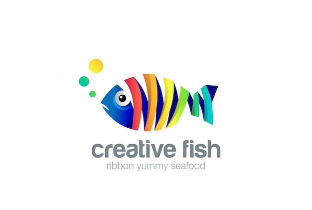Icône de logo abstrait poisson ruban coloré.