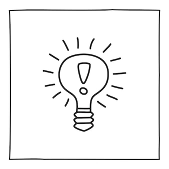 Icône ou logo d'ampoule doodle, dessinés à la main avec une fine ligne noire. isolé sur fond blanc. illustration vectorielle