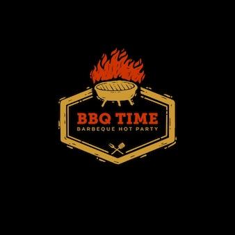 Icône logo barbeque temps de fête