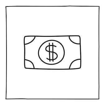 Icône ou logo de billet d'un dollar doodle, dessinés à la main avec une fine ligne noire. isolé sur fond blanc. illustration vectorielle