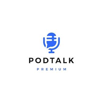 Icône de logo de bulle de conversation de conversation de podcast mic