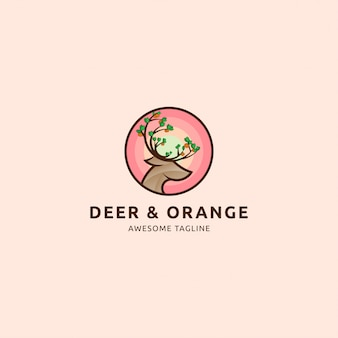 Icône logo cerf et orange