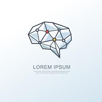 Icône de logo cerveau numérique intelligence