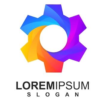 Icône de logo d'engrenage coloré vecteur premium