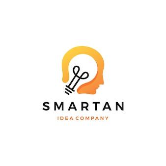 Icône de logo intelligente d'idée de tête d'ampoule humaine