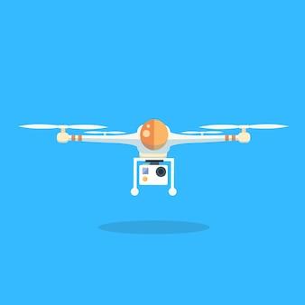 Icône de logo isolé de dessin animé de quadricoptère drone flying air