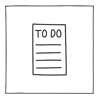 Icône ou logo de liste de tâches doodle, dessinés à la main avec une fine ligne noire. isolé sur fond blanc. illustration vectorielle