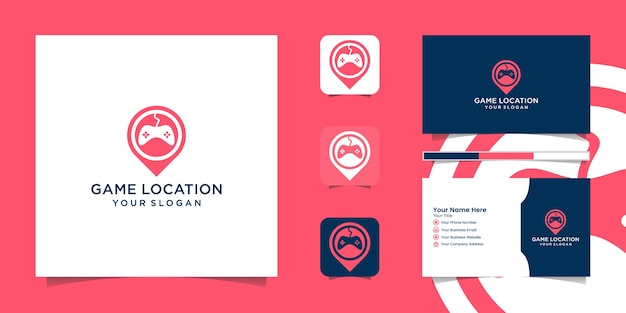Icône de logo de localisation de broche de jeu et carte de visite