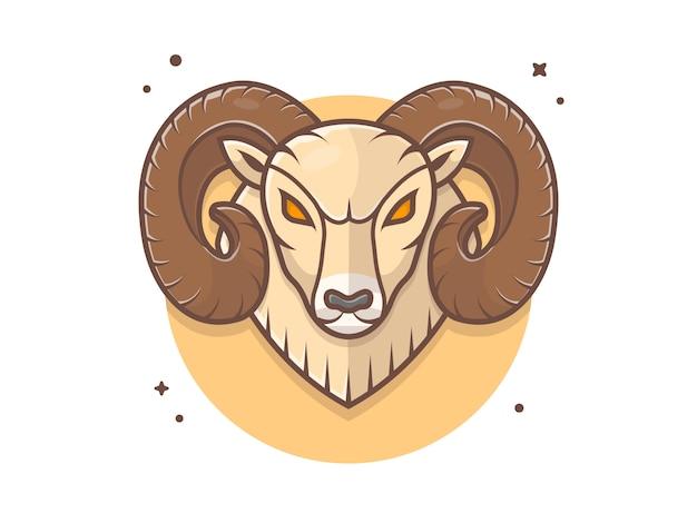 Icône logo mascotte ram en colère