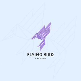 Icône logo oiseau volant avec accident vasculaire cérébral