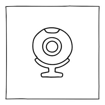 Icône ou logo d'ordinateur de webcam de doodle, dessinés à la main avec une fine ligne noire. isolé sur fond blanc. illustration vectorielle