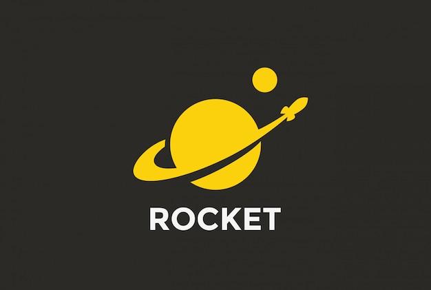 Icône logo rocket planet.
